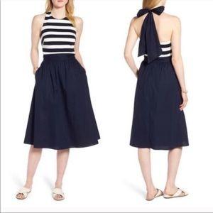 Striped Navy bow halter dress white 8 petite 1901